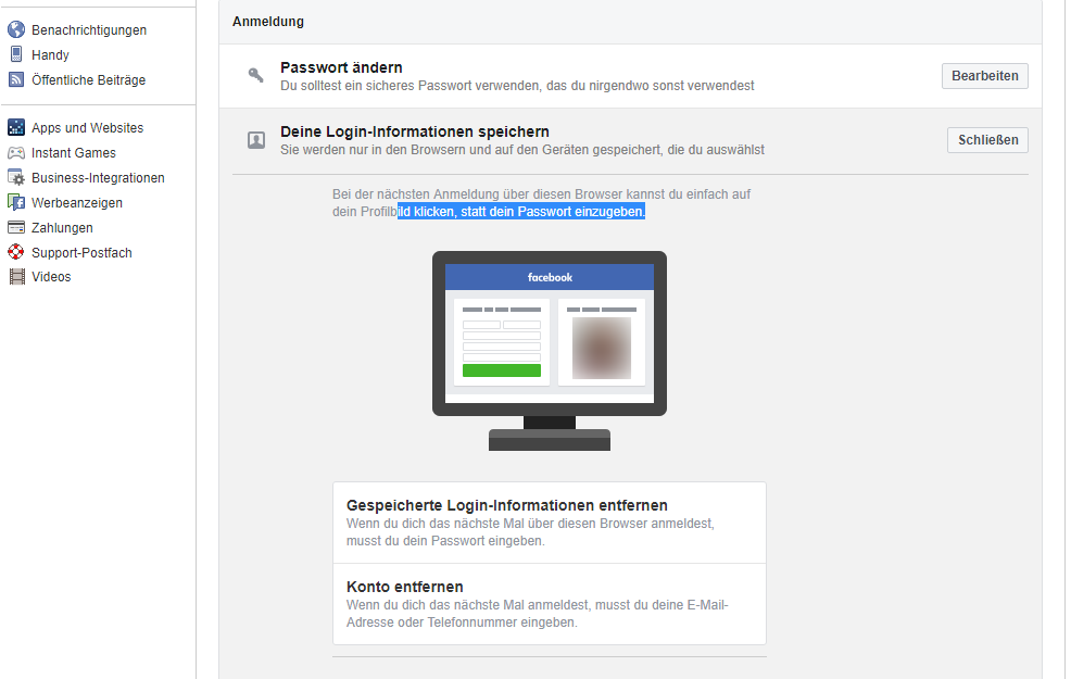 Facebook Logininformationen