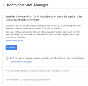 google-kontoinaktivität