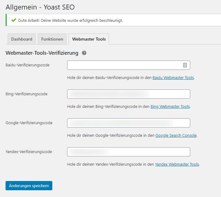 Die Webmaster Tools bei Yoast-SEO