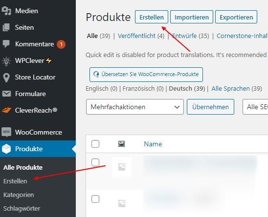 WooCommerce Produkt erstellen