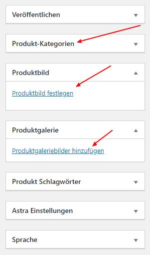 WooCommerce Produkte Bilder und Kategorie festlegen