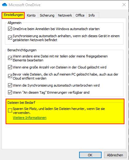 02 Microsoft OneDrive Einstellungen