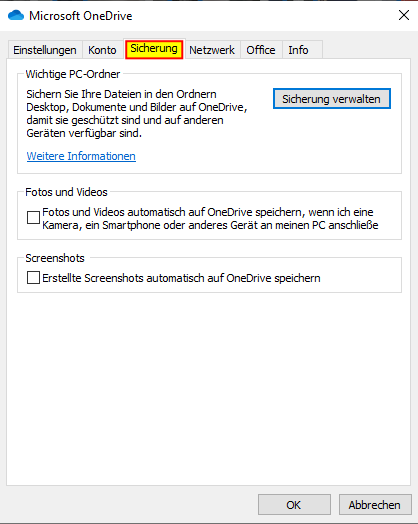 04 Microsoft OneDrive Sicherung